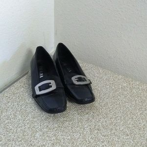Prada Black Leather Buckle Accent Shoes